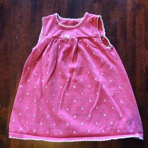 Gymboree pink and white polkadot sweater dress